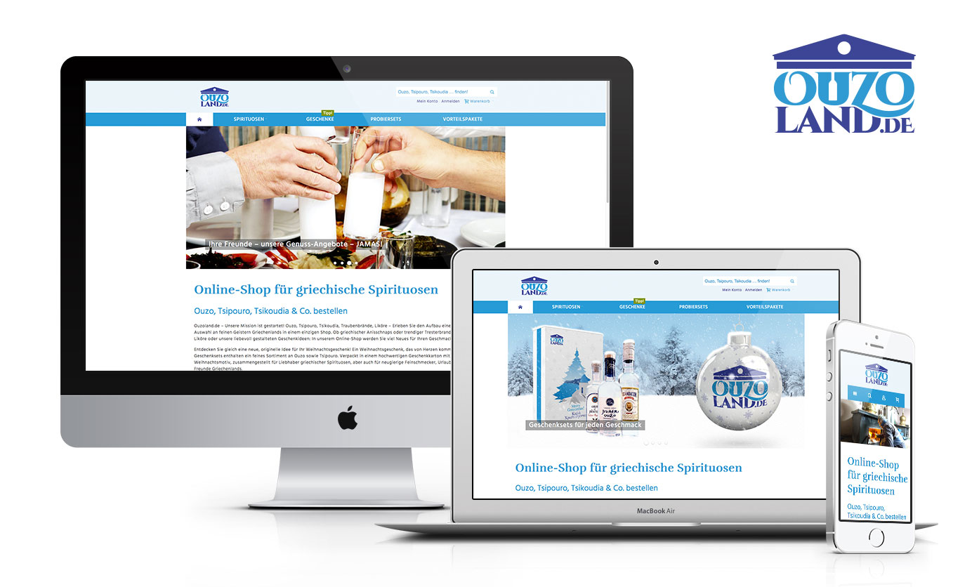 Bild: Der neue Magento-Onlineshop »Ouzoland« erstellt von Sandstein Neue Medien
